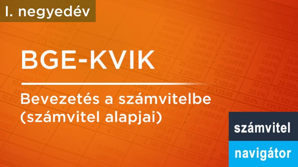 BGE-KVIK: Számvitel alapjai, bevezetés a számvitelbe 1. név